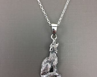 Minimalist Sterling Silver Necklace, Silver Necklace, Wolf Necklace, Silver howling Wolf necklace, Wolf Pendant, Animal necklace, Teen gift