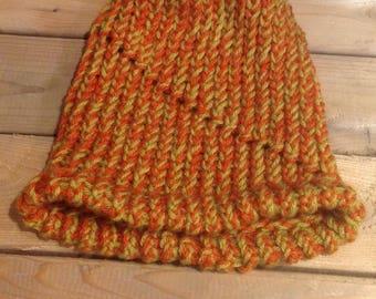 Loom knit hat, Winter Hat with brim