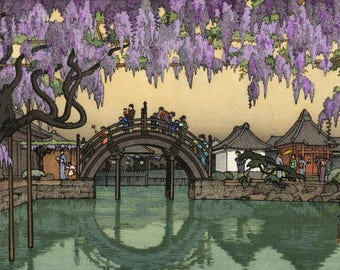 "Japanese Art Print ""Half Moon Bridge"" by Yoshida Toshi, woodblock print reproduction, asian culture, garden landscape, wisteria flowers"