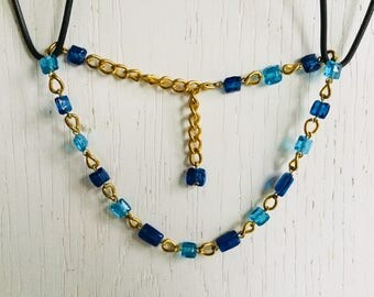 Blue and golden necklace