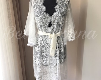 White lace robe,  White robe, bridal robe, lace robe, bridesmaid robe, wedding robe,  Getting Ready Robe, womens robe, bridal lace robe,
