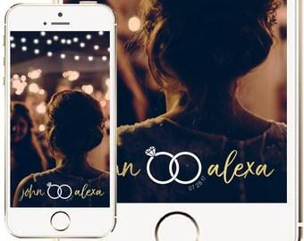 Wedding Snapchat Geofilter, Fairy Lights Wedding Snapchat Filter, Wedding Ideas, Snapchat Geofilters, Gold Wedding Geofilter