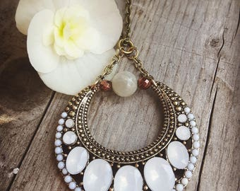 Vintage crescent moon necklace with Moonstone