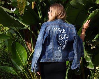 Make love not war hand painted diesel denim jacket ( read the description !)
