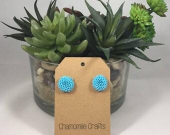 Chrysanthemum Earrings Sky Blue