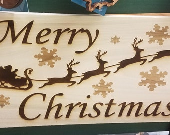 Merry Christmas Poplar Wood Engraved Sign