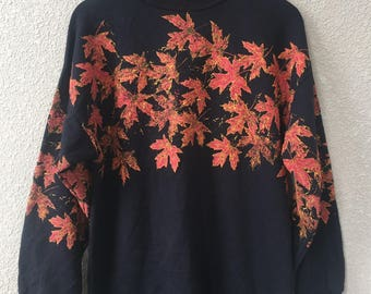 20%OFF 90s Vintage Cold water creek made in usa clothing sweater-dress sweatshirts men / women pullover - canada leaves- sweater size L