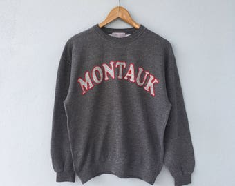 Montauk vintage clothing men women sweatshirt sweater long sleeve pullover big logo spell out  jumper outfit size s