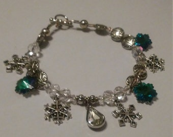 Snowflake charm and beaded bracelet