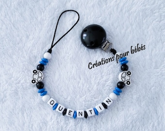 """Attach pacifier boy personalized wood beads and """"Car"""""""