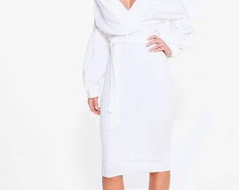 Off Shoulder Wrap Style Bodycon Dress - Wrap Style Midi Dress Off Shoulder Finish