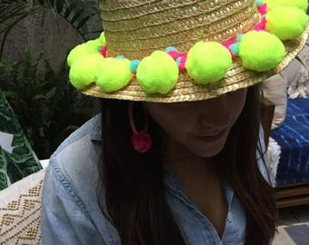 Pom Pom Fedora Straw Hat in Jumbo Yellow Pom Poms