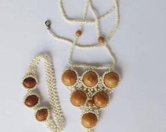 Statement Necklace and Bracelet Seed Beads Wooden Beads Beige Ivory Brown