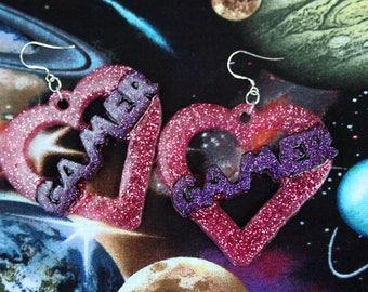 Large Glitter Gamer Heart Earrings
