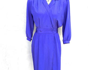 Vintage 1980s Jonathan Martin Dress In Blue/ Vintage Secretary Dress/ Summer Dress/ Silky Dress/ Wrap Around Dress
