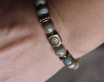 Boho earthtone and antique copper bead bracelet