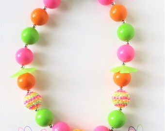 Girls Orange Flower Chunky Bubblegum Necklace, Little Girls Bubblegum Necklace, Chunky Bead Necklace, Girls Jewelry, Toddler Bead Necklace