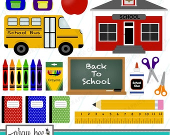 SALE! Back to School-School-Bus-Chalkboard-Clipart Set, Commercial Use, Instant Download, Digital Clipart, Digital Images- CP224