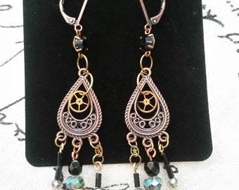 Antiqued Copper Lever-Back Earrings