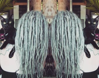 Silver Grey Dreadlock Extensions 22""
