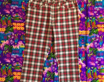 Vintage Levi's Red Plaid Pants Gentleman's Jeans Sample 1970s High Waisted Altered
