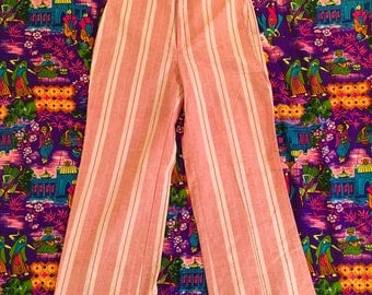 Vintage Levi's For Me Red White Striped Pants Candy Striper Pin Striped 1970s High Waisted Wide Leg