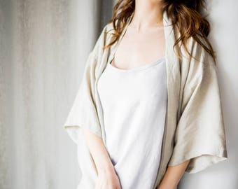 Linen robe, linen bathrobe, dressing gown, morning gown, night gown, stonewashed softened linen robe, natural, eco organic clothing