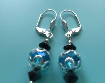 Turquoise Dangle Earrings / Black Crystal Earrings / Bridal Earrings / Boho Earrings / Statement Earrings / Gift for Her /Silver Earring