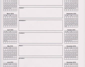 Weekly schedule - 2018