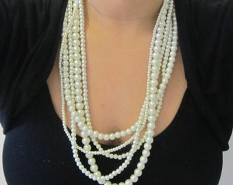 Chunky Multi Strand Necklace Pearl Statement Necklace Long Multi Layered Beaded Five 5 Strand Necklace White or Ivory Pearls