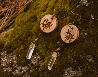 Fern wood burned earrings, clear quartz crystal earrings, quartz points, wood earrings, nature jewelry.