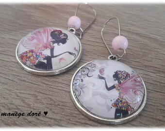 Pink fairy and Butterfly cabochon earrings