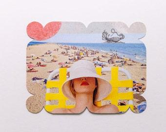 the beach, original paper collage