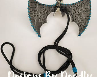 Second Edition Light Blue Lace on Faux Alligator Dragon Wings (Medium)