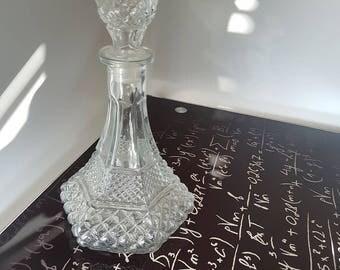 Vintage Tapered Glass Decanter/Ornate/Delicate/Designed/Vase/Barware/Serving/Home Decor/Bottle/Wine/Alcohol/Household/Fancy/Spiral Design