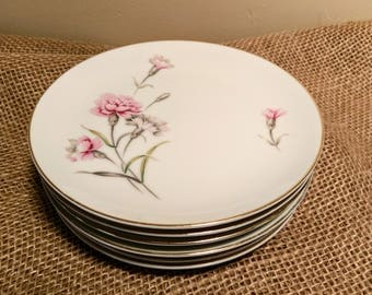 Vintage Royal Court Carnation Dessert Plates, Set of (6) with 22k Gold Trim