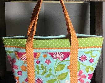 Small Tote Bag with Pockets - Owls, Flowers and Polka Dots oh my!