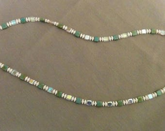 Square glass beaded necklace.