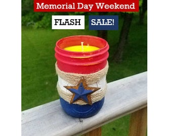 SALE Citronella Candles Rustic - Home Decor - Outdoor Candle - Red White and Blue Candle - Patriotic Citronella Candle - Memorial Day