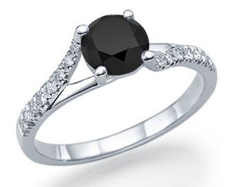 Round Cut Black Diamond Engagement Ring 14k White Gold or Yellow Gold Split Shank Diamond Ring Art Deco Anniversary Ring