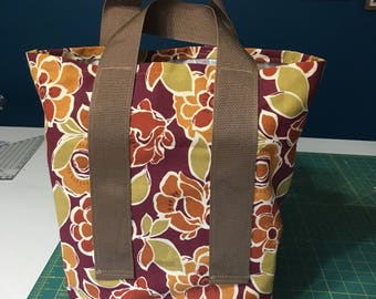 Canvas Shopping Bag - Maroon/Tan Floral, one-of-a-kind