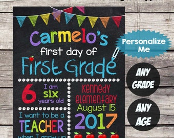 First Day of FIRST GRADE School Sign - First Day of School Chalkboard Printable Personalized Back to School Sign ANY Grade Any size  #21
