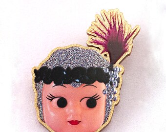 Kewpie Queen brooch - flapper silver