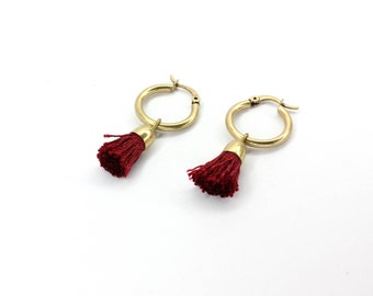 FREE SHIPPING - Hoop tassel earrings