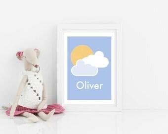 Customisable personalised art print, kids art print, sunshine and clouds print, nursery art, scandi kids bedroom art