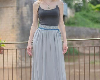 Long skirt Lili with blue cord