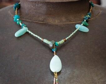 Green amazonita necklace, gemstone necklace, Ethnic necklace, bohemian amazonita necklace