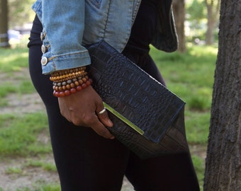 Geometric Faux Alligator with Gold Bar Envelope Style Clutch