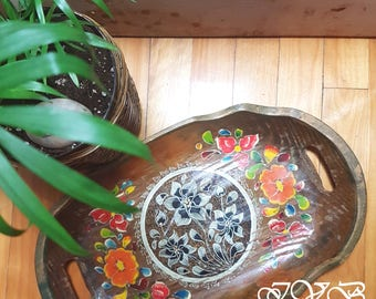 Boho wooden tray, wood platter, hand painted flowers, vintage tray, vintage wood tray, hand painted wooden platter