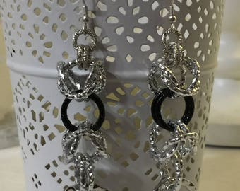 Black and silver chainmail earrings